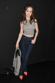 Taryn Manning joined in on the crop-top trend with this gray number at the Charlotte Ronson fashion show.