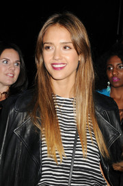 Jessica Alba polished off her look with a sleek straight center-parted 'do when she attended the Charlotte Ronson fashion show.