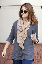 Jessica Alba added a cozy element to her look with a nude scarf while out and about in Studio City.