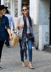 Jessica Alba took a stroll in New York City wearing adorable silver strappy sandals by Delman.