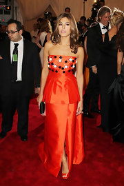 Eva Mendes showed off her long chestnut waves with a center part at the Met Gala.