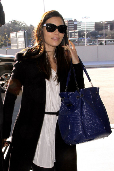 Jessica Biel Patent Leather Tote