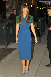 Jessica Biel looked fun and flirty in a bold color-blocked dress for an appearance on 'The Late Show with David Letterman.'