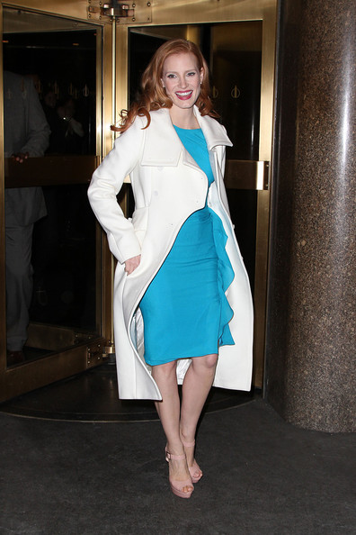 More Pics of Jessica Chastain Leather Shoulder Bag (7 of 12) - Jessica Chastain Lookbook - StyleBistro