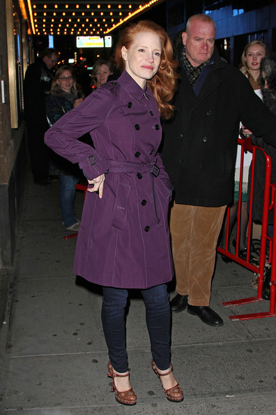 More Pics of Jessica Chastain Trenchcoat (1 of 9) - Jessica Chastain Lookbook - StyleBistro