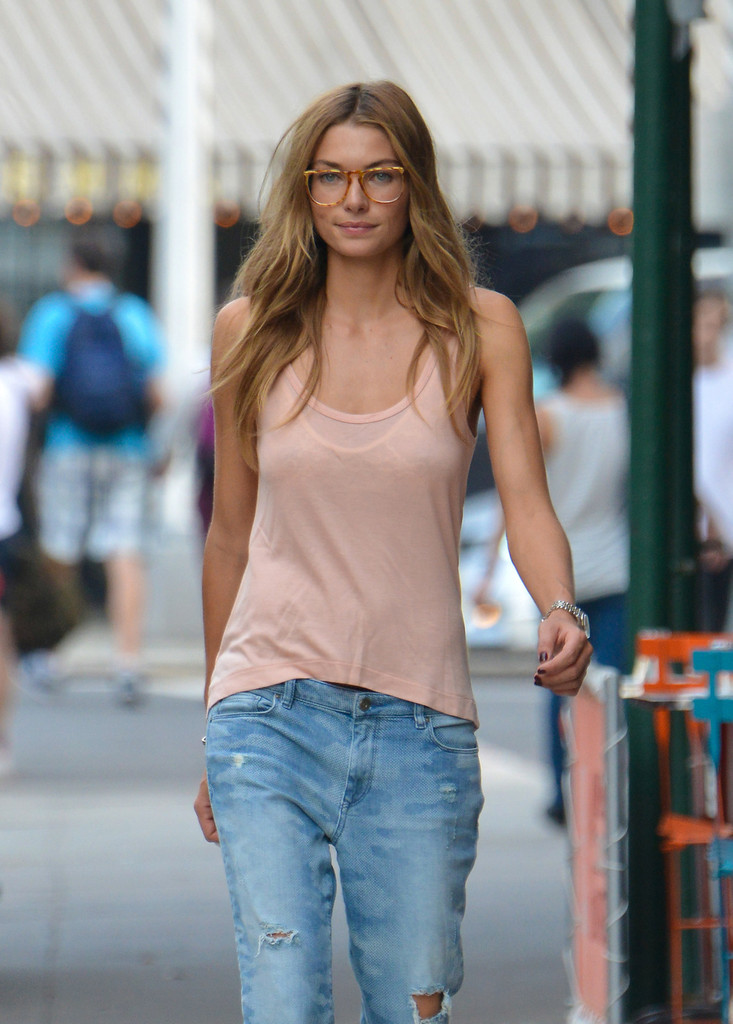 Jessica Hart seen walking her dog in the East Village, New York City