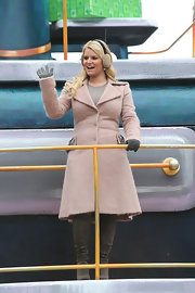 Jessica donned a pink wool coat with bead detail on the lapel and pockets at the Macy's Thanksgiving Day Parade.
