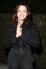Jessica Sutta wore a cropped jacket with flower lining while out at Maestro's.
