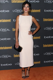 Jessica Szohr's barely-there black sandals provided a sexy finish to her look during the Entertainment Weekly pre-Emmy party.