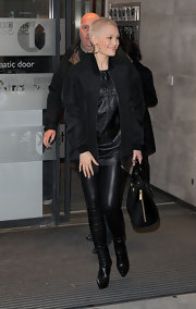 Jessie J kept her look rock star cool with these black leather pants.