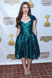 Holland Roden chose a metallic teal cocktail frock for her look at the Saturn Awards in Burbank.