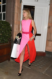 Joley Richardson opted for some major color blocking for her evening look with this pink and red evening gown.
