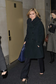 Julia Styles opted for a classic wool coat with a large standing collar for her look on the 'Today' show.