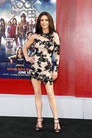 Catherine Zeta Jones got sexy at the 'Rock of Ages' premiere in this lacy single-sleeve mini.