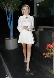 Julianne Hough chose this crisp white blouse and a flounce skirt for her look while out in LA.