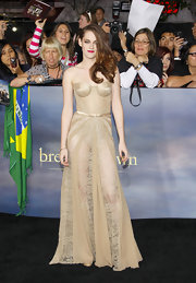 Kristen was a vision at the 'Breaking Dawn - Part 2' premiere in this nude lace corset dress with a sheer skirt.
