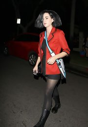 Katy Perry looked just like MTV's Daria on Halloween in the cartoon character's bright piped blazer.