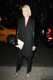 Rachael looked fierce in her sleek contrast sleeved black coat on her way to the Gotham Independent Film Awards.