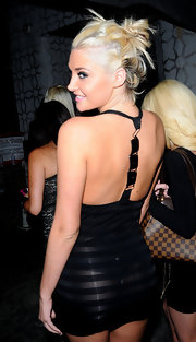 Karissa Shannon flashed some derriere in a see-through black halter dress while clubbing in Hollywood.