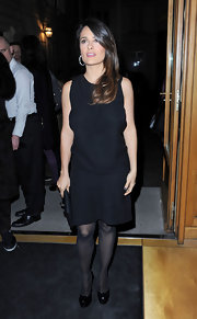 Salma Hayek topped off her black dress with black platform pumps.