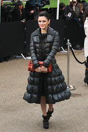 Rachel Bilson gave her tweed dress a tough edge with suede and leather buckled platform boots.
