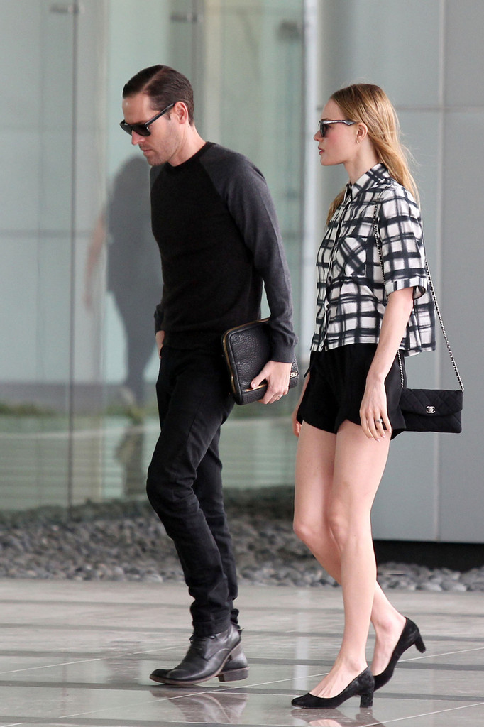 Kate Bosworth and husband Michael Polish seen arriving at a hotel in Century City, Los Angeles