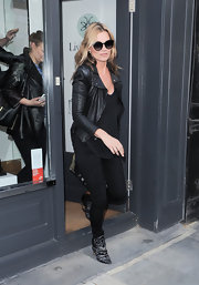 Kate Moss showed off her signature grunge-rocker style with this leather jacket while out in London.