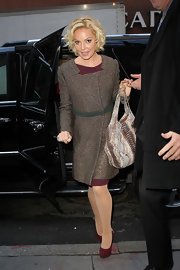 Katherine Heigl accessorized her ensemble with burgundy platform pumps with embellished heel detailing.