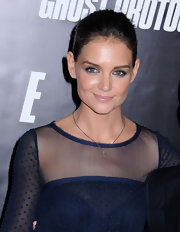 Katie Holmes added a touch of shimmering navy liner to brighten her eyes at the NYC premiere of 'Mission: Impossible - Ghost Protocol.'