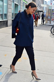 Katie Holmes channeled Jackie O in this textured blue coat while out in NYC.