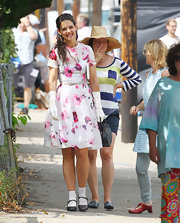 Katie Holmes looked oh-so pretty in a pink floral frock while on set of 'Miss Meadows.'