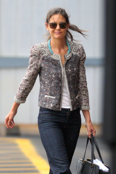 More Pics of Katie Holmes Cropped Jacket (1 of 9) - Katie Holmes Lookbook - StyleBistro []
