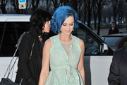 Katy Perry sightseeing in Paris wearing a sheer pastel green outfit with Christian Louboutin heels.