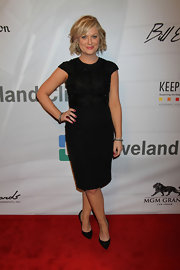 Amy Poehler stunned in a basic capped-sleeve LBD that featured a beaded bodice.