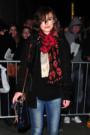 Keira Knightley left the Comedy Theatre in this red skull print scarf.