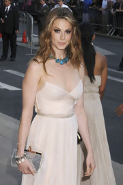 A metallic silver frame clutch amped up the glam feel of Elettra Wiedemann's look during the 2011 CFDA Awards.