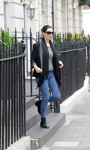A crisp black blazer topped off Kelly Brook's look while out in London.