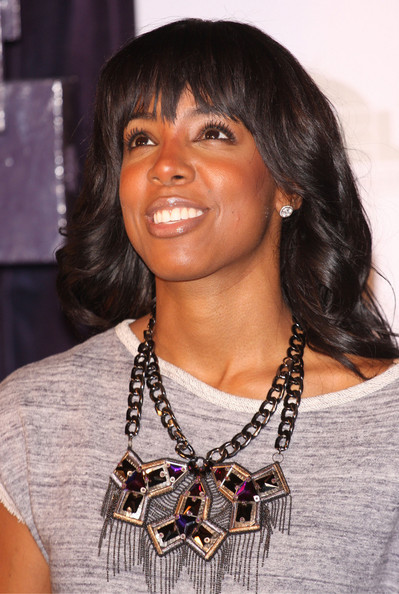 More Pics of Kelly Rowland Long Curls with Bangs (7 of 31) - Long Curls with Bangs Lookbook - StyleBistro []