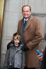 Kelsey Grammer cozied up in a brown wool coat while filming in Manhattan.
