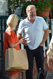 Kelsey Grammer looked laid-back in his baby-blue polo shirt while out for lunch.