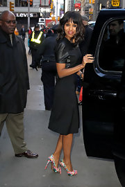 Kerry Washington visited the set of 'Good Morning America' wearing a lovely pair of multi-colored pumps.