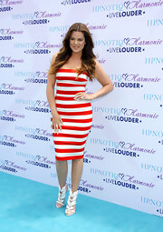 Khloe Kardashian opted for a gorgeous nautical look when she wore this red-and-white striped fitted dress.