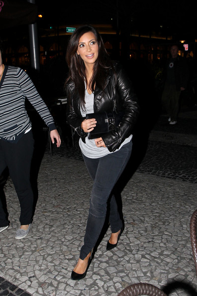 More Pics of Kim Kardashian Leather Jacket (1 of 7) - Kim Kardashian Lookbook - StyleBistro