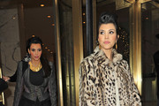 Kourtney Kardashian looks lovely in leopard print as she steps out with her sisters in New York. Kim, Khloe and Kourtney were visiting the Fox 5 and CW studios.
