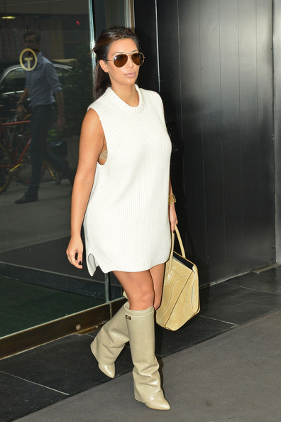 Kim K Looks with Boots Sweater Dresses