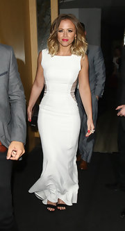 Kimberley Walsh looked glam at Nobu Restaurant in a sleeveless white evening dress with sheer side panels.