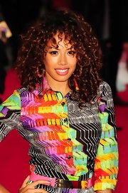 Jade Ewen looked like a hot '80s flashback in her vibrant ensemble, big hoops and spiral curls.