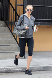 Kimberly Stewart toted a black and white print tote after visiting an LA gym.