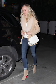Kimberly Stewart stepped out in West Hollywood wearing a pair of soft tan suede ankle boots.
