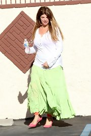 Kirstie Alley donned a white Henley shirt with a green peasant skirt for 'Dancing with the Stars' practice.